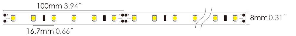 led strip 2835L 60LEDs size