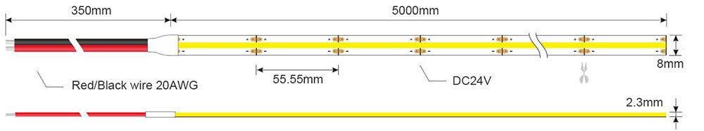 COB LED strip light 378 dimension