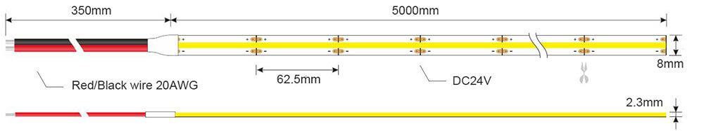 COB LED strip light 512 dimension
