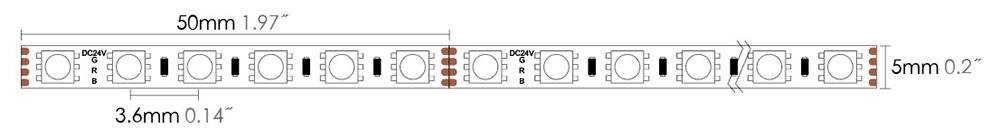 LED strip 3838 120S05 RGB dimension