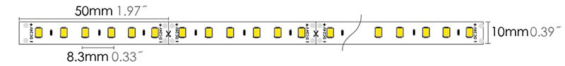 led strip 2835H 96LEDs dimension