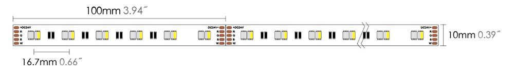 led strip 3527 120S10 RGBW dimension
